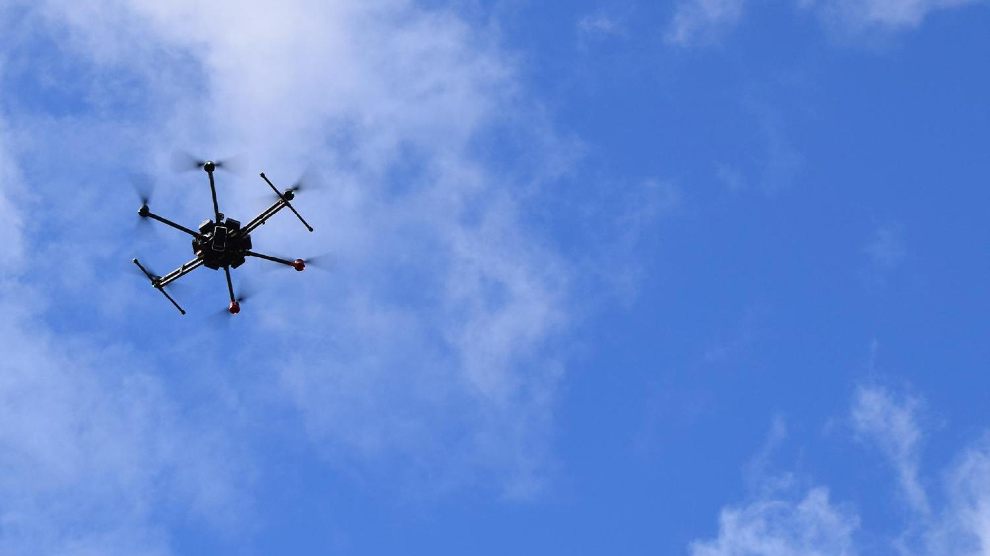 5G drone flying in the sky.