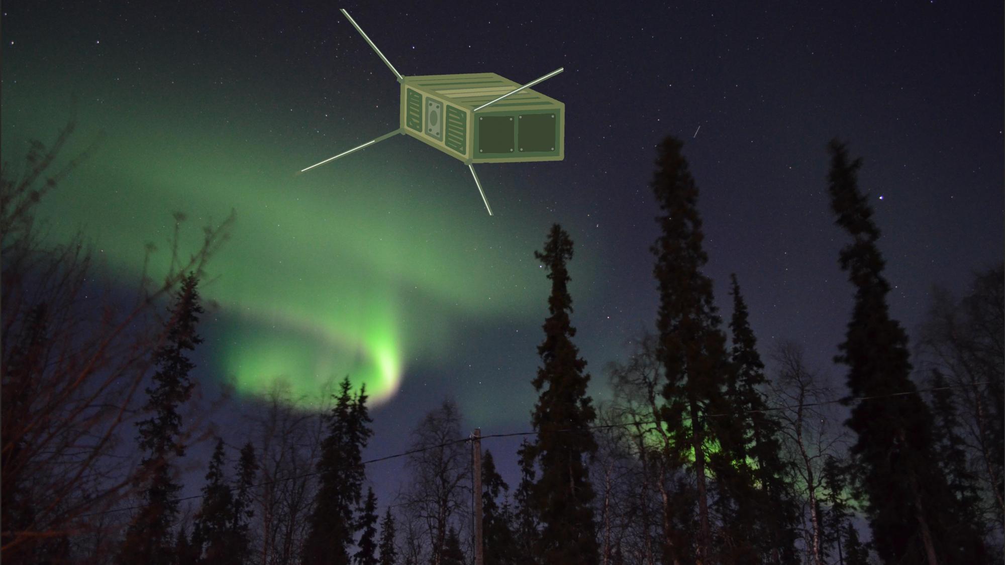 Hahmotelma LappiSat-piensatelliitista, taustalla revontulia.