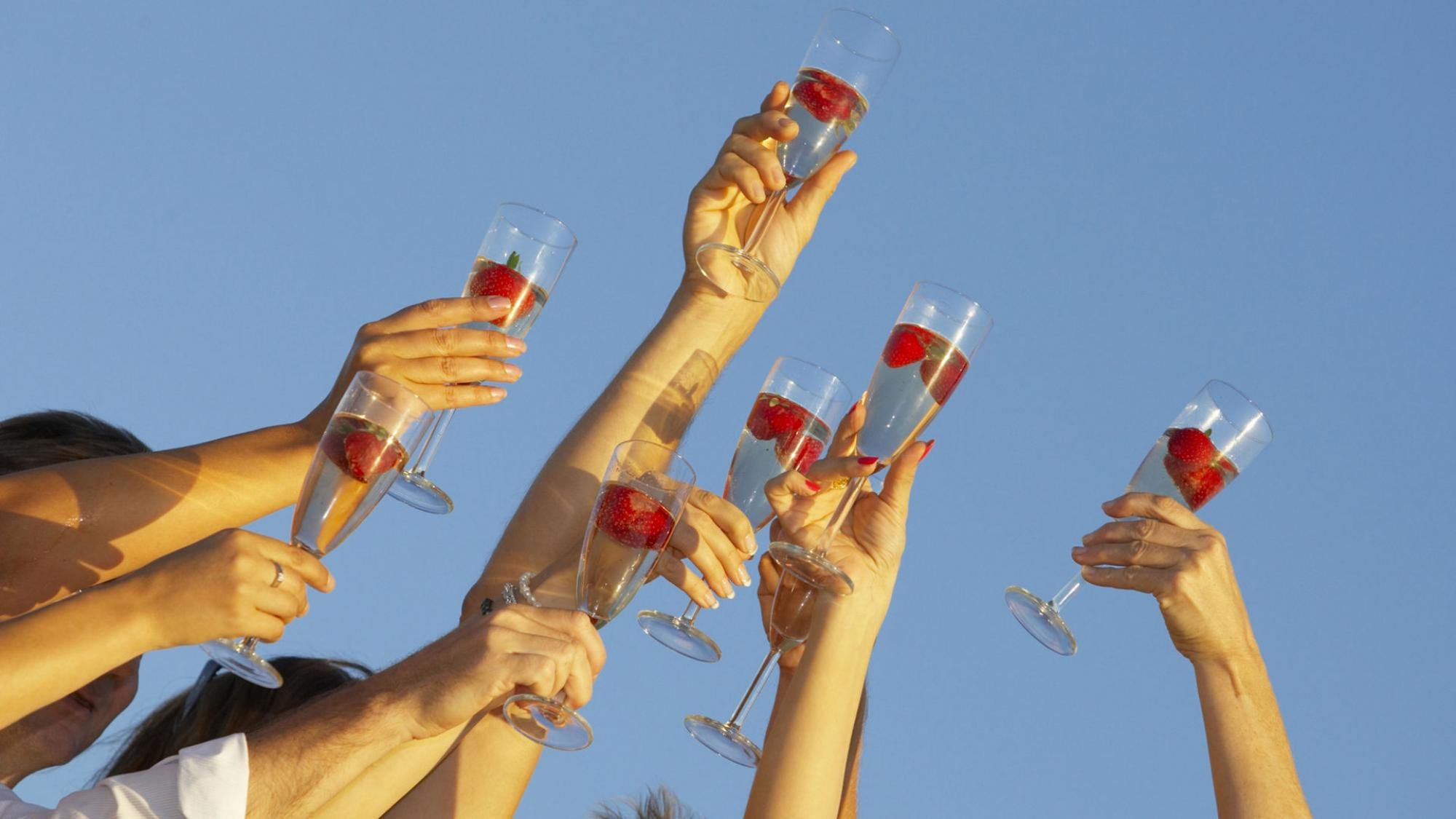 Hands raising a toast towards the blue sky..