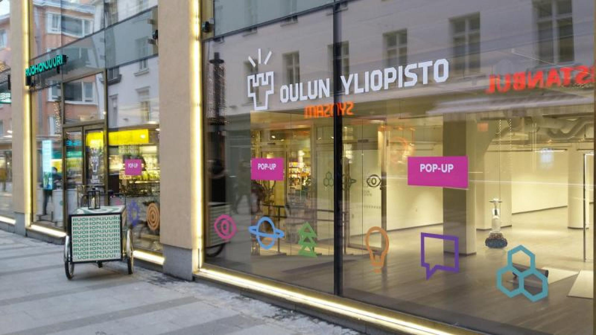 Window of the University of Oulu Pop-Up Space in the city center