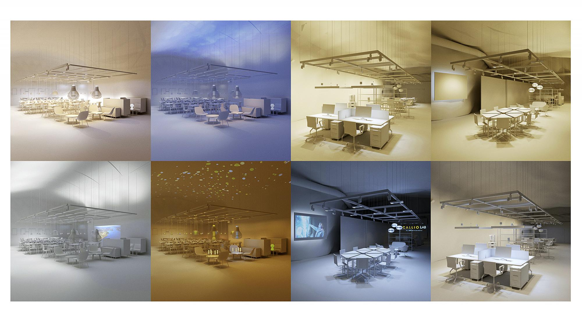 Kuvia työtilojen valaistuksista Mia Pujolin voittajatyöstä.