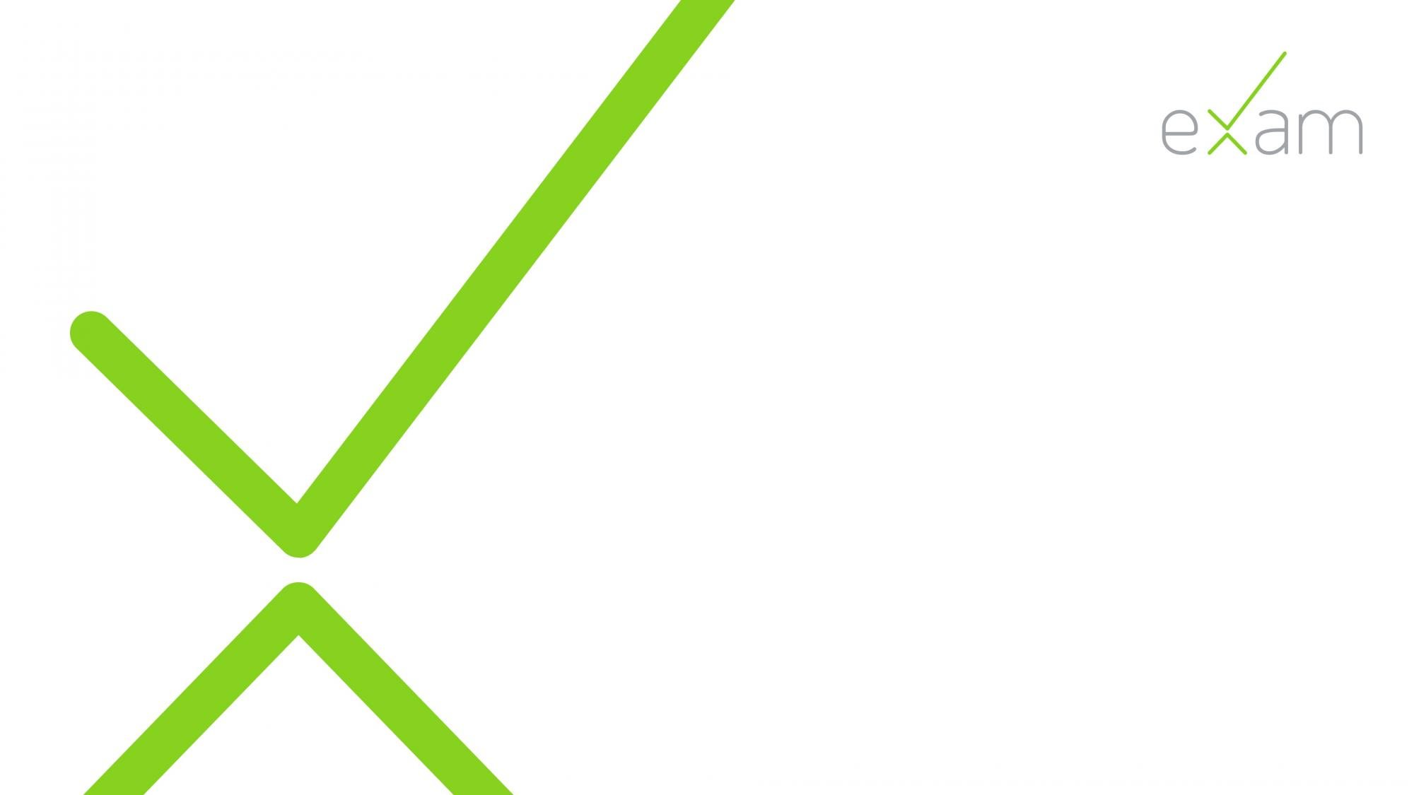 X-logo ja eXam-teksti oikeassa ylänurkassa