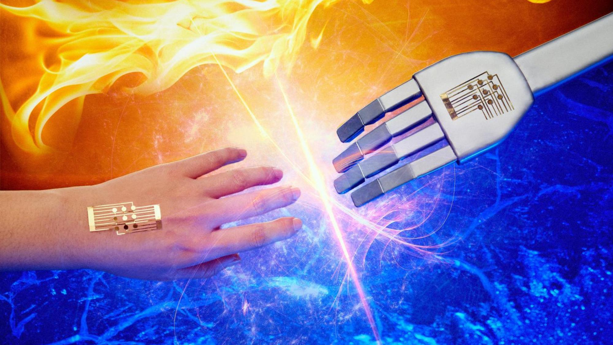 Smartskin käsi tavoittelee metallista kättä.
